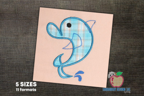 Jumping Dolphin Applique for Kids Marine Mammals Embroidery Design By embroiderydesigns101