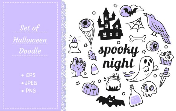 Kawaii Halloween Object in Doodle Style Graphic Illustrations By Big Barn Doodles