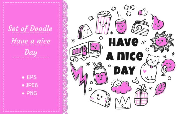 Kawaii Doodle Set with Quotes, Cute Icon Graphic Illustrations By Big Barn Doodles