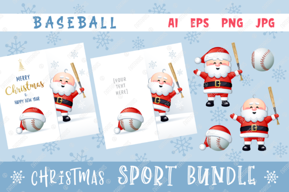 Merry Christmas Happy New Year. Baseball Graphic Illustrations By Natariis Studio
