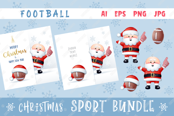 Merry Christmas Happy New Year. Football Graphic Illustrations By Natariis Studio