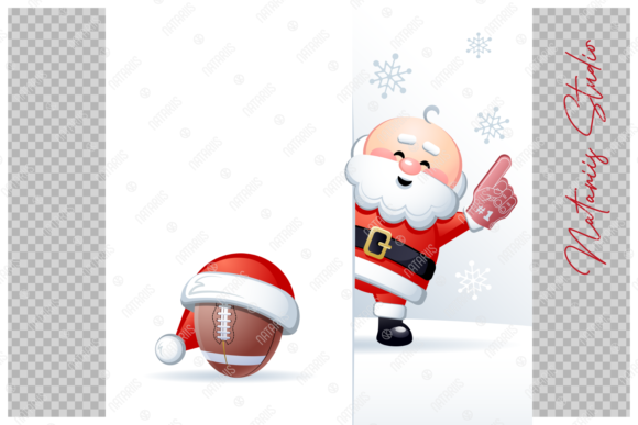 Merry Christmas Happy New Year. Football Graphic Item