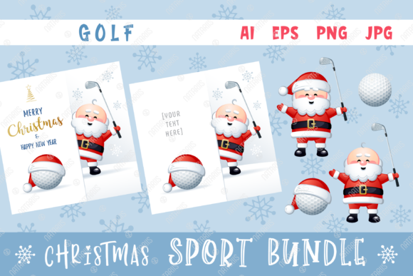 Merry Christmas Happy New Year. Golf. Graphic Illustrations By Natariis Studio