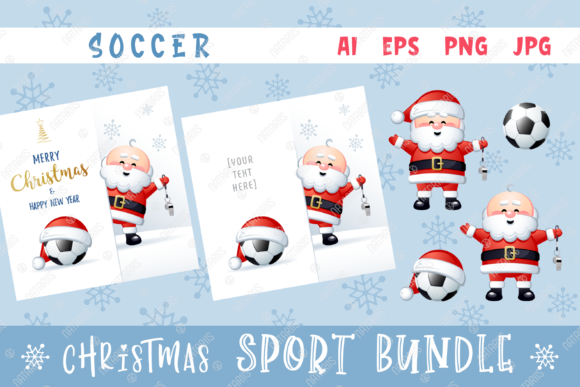 Merry Christmas Happy New Year. Soccer. Graphic Illustrations By Natariis Studio