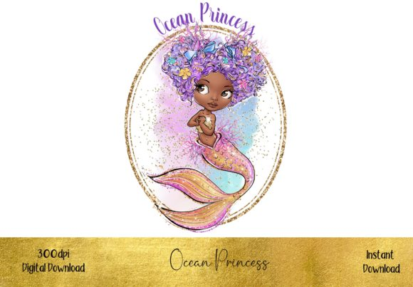 Ocean Princess Mermaid Graphic Illustrations By STBB