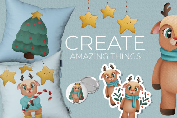 Print on Demand: Oh My Deer Clipart Christmas Clipart Graphic Illustrations By StudioAngelArts