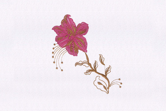 Pink Flower Design Single Flowers & Plants Embroidery Design By DigitEMB