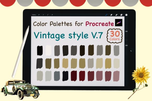 Procreate Color Palettes-Vintage V7 Graphic Add-ons By jennythip