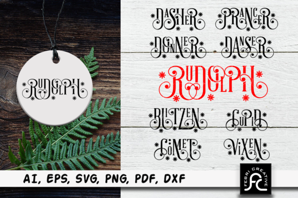 Print on Demand: Reindeer Names - Christmas Bundle - SVG Graphic Crafts By Febri Creative