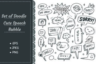 Set of Cute Speech Bubble Doodle Graphic Illustrations By Big Barn Doodles