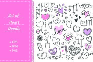 Set of Heart Shape Doodle Graphic Illustrations By Big Barn Doodles