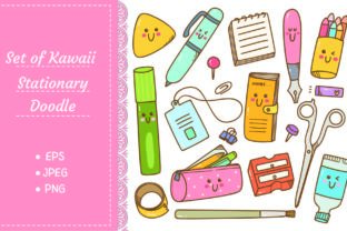 Set of Kawaii Style Stationary Doodles Graphic Illustrations By Big Barn Doodles