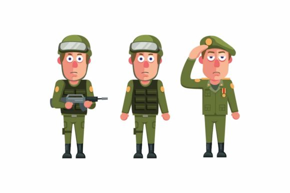 Print on Demand: Soldier Army Man Uniform Character Set Graphic Illustrations By aryo.hadi