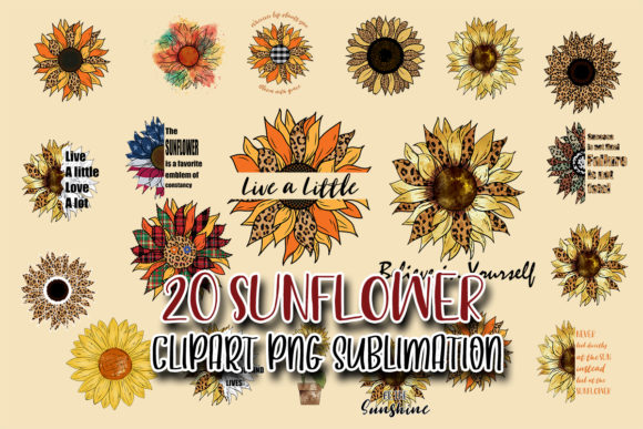 Sunflower Bundle Sublimation Design Graphic Crafts By Tori Designs