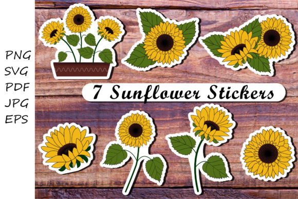 Sunflowers Stickers Graphic Illustrations By vitaminka26
