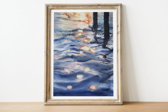 Sunset on the Water Watercolor Print Graphic Illustrations By tatibordiu