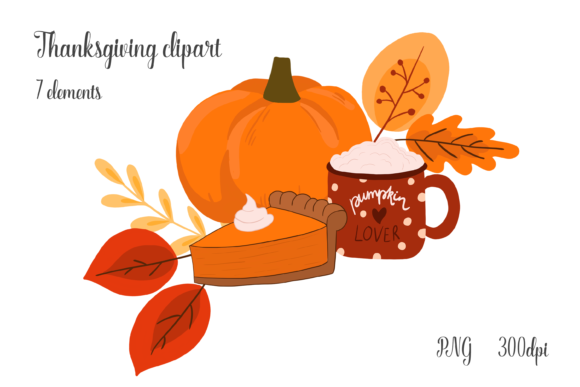 Thanksgiving Clipart with Pumpkin, Cocoa Graphic Objects By CuteShopClipArt