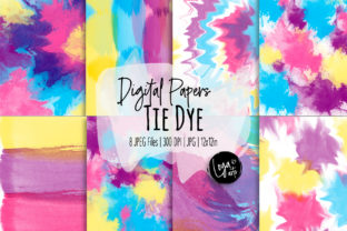 Print on Demand: Tie Dye Digital Paper Set Graphic Backgrounds By loyaarts