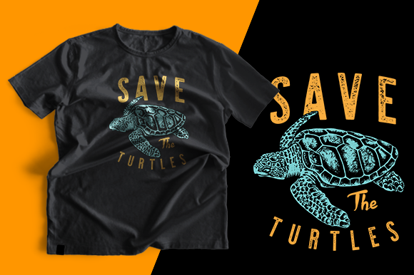 T-shirt Design - Save the Turtles Graphic Print Templates By cithu09