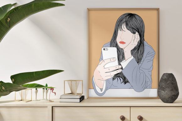 Print on Demand: Wall Art Women Feel Bored Graphic Illustrations By Saydung89
