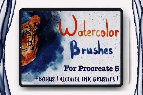 Watercolor Brushes for Procreate and Alk Graphic Brushes By Dishanti Art