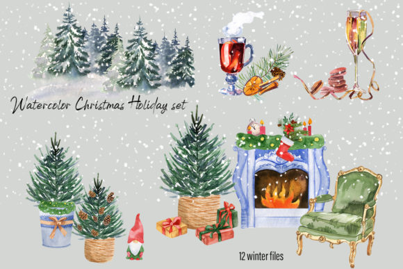 Watercolor Christmas Clipart Scene Creat Graphic