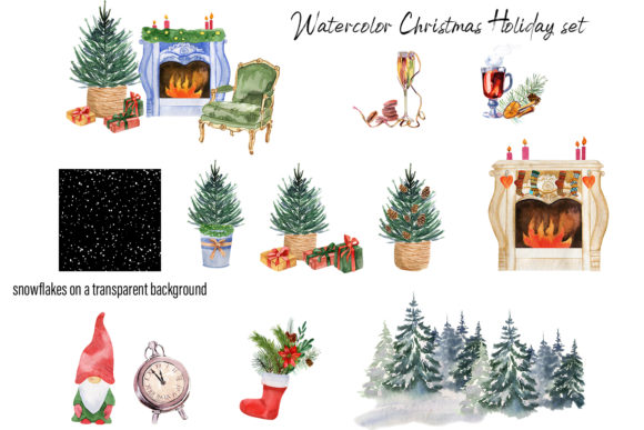 Watercolor Christmas Clipart Scene Creat Graphic Download
