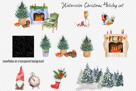 Watercolor Christmas Clipart Scene Creat Graphic Item