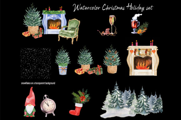 Watercolor Christmas Clipart Scene Creat Graphic Design