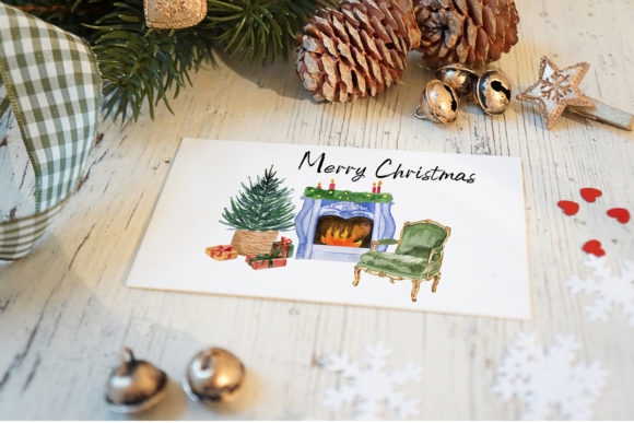 Watercolor Christmas Clipart Scene Creat Graphic Downloadable Digital File