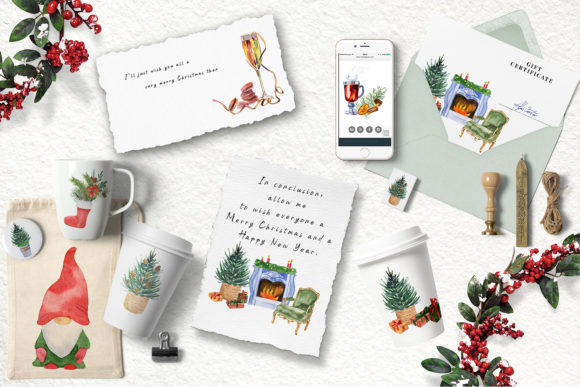 Watercolor Christmas Clipart Scene Creat Graphic Popular Design