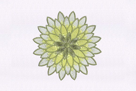 Yellow White Flower Design Single Flowers & Plants Embroidery Design By DigitEMB