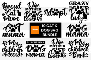 Print on Demand: 10 Cat and Dog Svg Bundle Grafik Druck-Templates von Maumo Designs