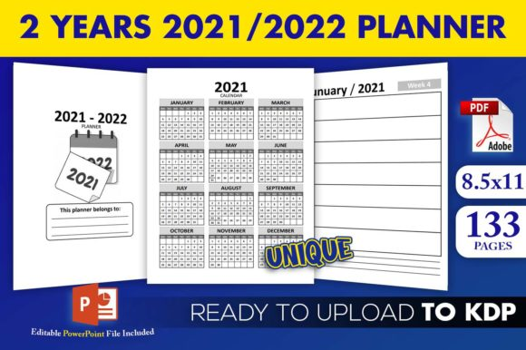 Print on Demand: 2 Years 2021 / 2022 Planner KDP Interior Graphic KDP Interiors By Beast Designer