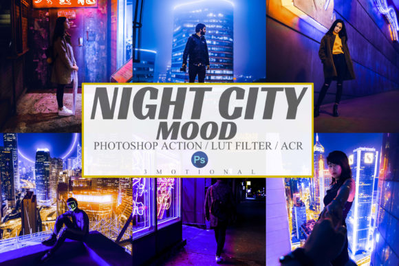 Print on Demand: 7 Night City Mood Photoshop Actions, ACR Graphic Actions & Presets By 3Motional