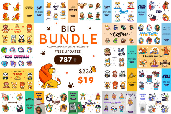 Print on Demand: Big Animals Bundle Graphic Illustrations By lesartbiz