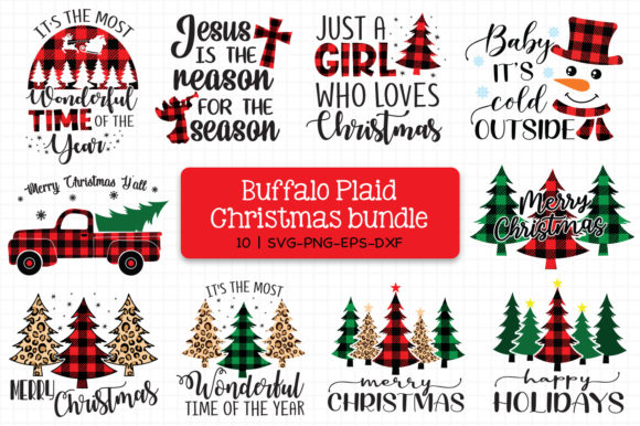 Buffalo Plaid Christmas Bundle Grafik Plotterdateien von All About Svg