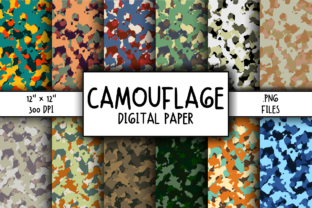 Print on Demand: Camouflage Background Digital Paper Graphic Backgrounds By atlasart