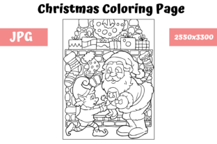 Print on Demand: Christmas Coloring Page for Kids - 4 Graphic Coloring Pages & Books Kids By MyBeautifulFiles