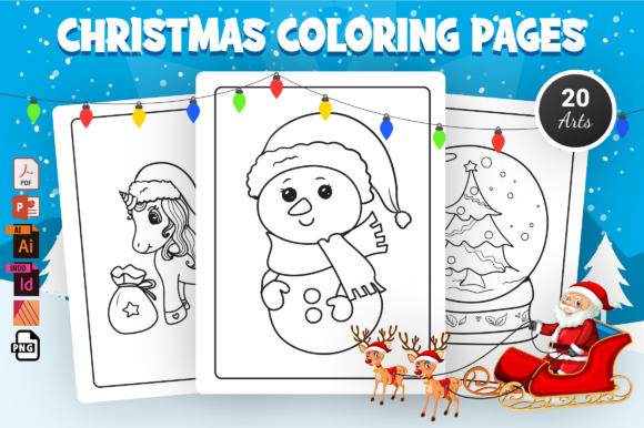 Christmas Coloring Pages - KDP Interior Graphic Coloring Pages & Books Kids By Moon