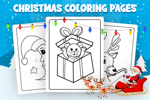 Christmas Coloring Pages - KDP Interior Graphic Download
