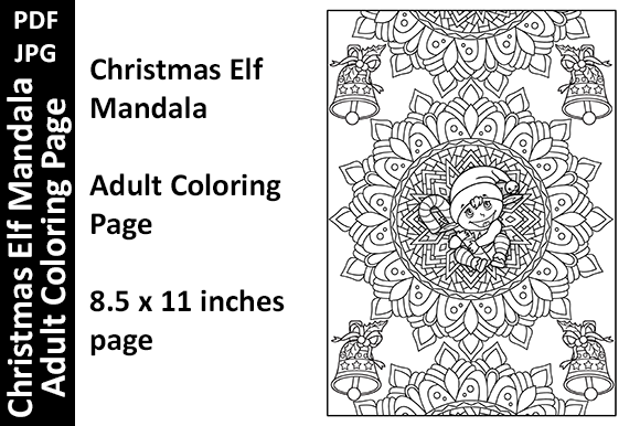 Christmas Elf in Mandala - Coloring Page Graphic Coloring Pages & Books Adults By Oxyp