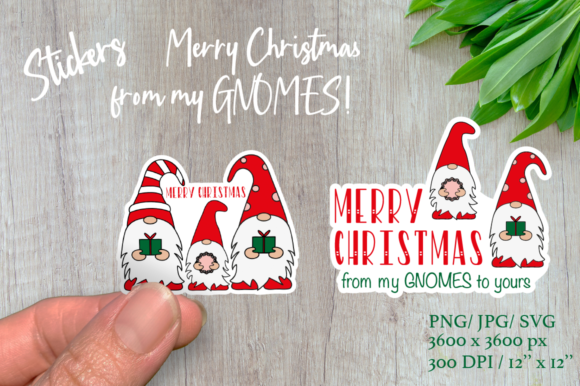 Christmas Gnomes. Christmas Sticker Graphic Illustrations By Createya Design
