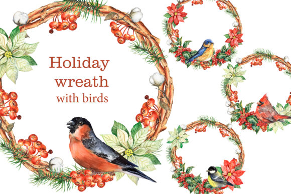 Christmas Holiday Wreaths with Birds. Graphic Illustrations By EvArtPrint