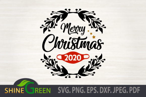 Christmas Ornament 2020 - Floral, Mask Graphic Download