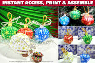 Christmas Ornaments Favor Boxes Graphic Crafts By paperart.bymc