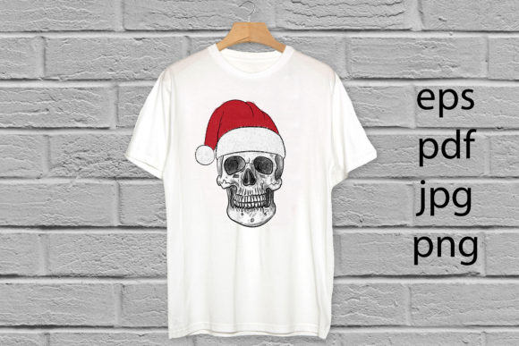 Christmas Santa Claus Skull Hand Drawn. Graphic Illustrations By baigern
