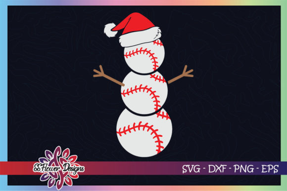 Christmas Snowman Baseball Santa Hat Graphic Print Templates By ssflower