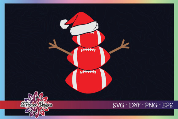 Christmas Snowman Football Santa Hat Graphic Print Templates By ssflower