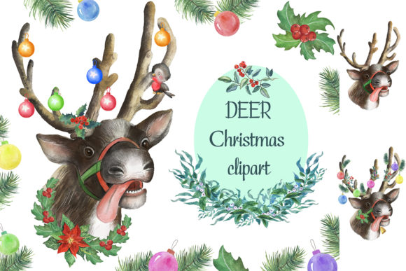 Christmas Deer Watercolor Clipart. Graphic Illustrations By EvArtPrint